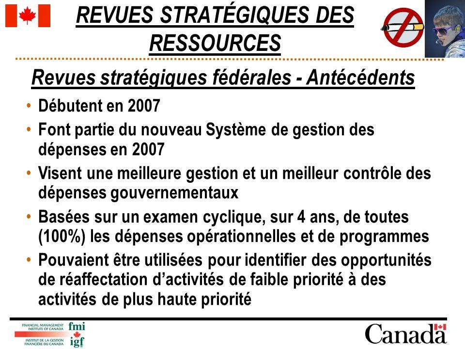 REVUES STRATÉGIQUES DES RESSOURCES Revues stratégiques fédérales - Antécédents Débutent en 2007 Font partie du nouveau Système de gestion des dépenses