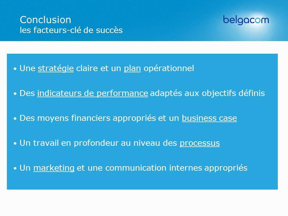 Conclusion les facteurs-clé de succès Une stratégie claire et un plan opérationnel Des indicateurs de performance adaptés aux objectifs définis Des mo