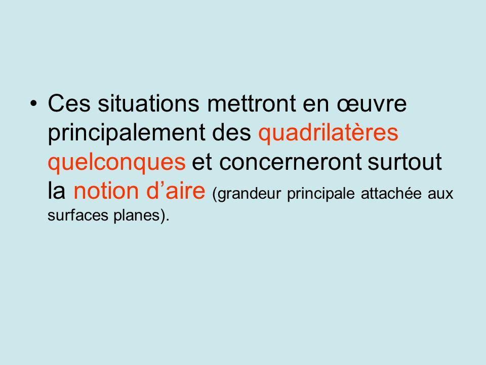 Ces situations mettront en œuvre principalement des quadrilatères quelconques et concerneront surtout la notion daire (grandeur principale attachée aux surfaces planes).