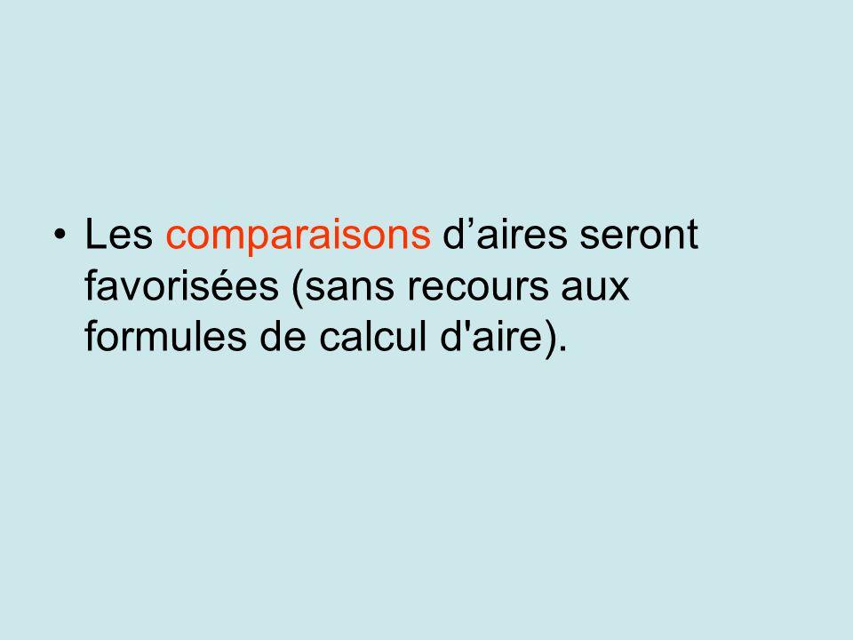 Les comparaisons daires seront favorisées (sans recours aux formules de calcul d'aire).