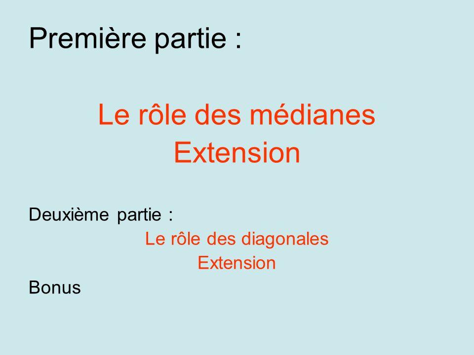 Première partie : Le rôle des médianes Extension Deuxième partie : Le rôle des diagonales Extension Bonus