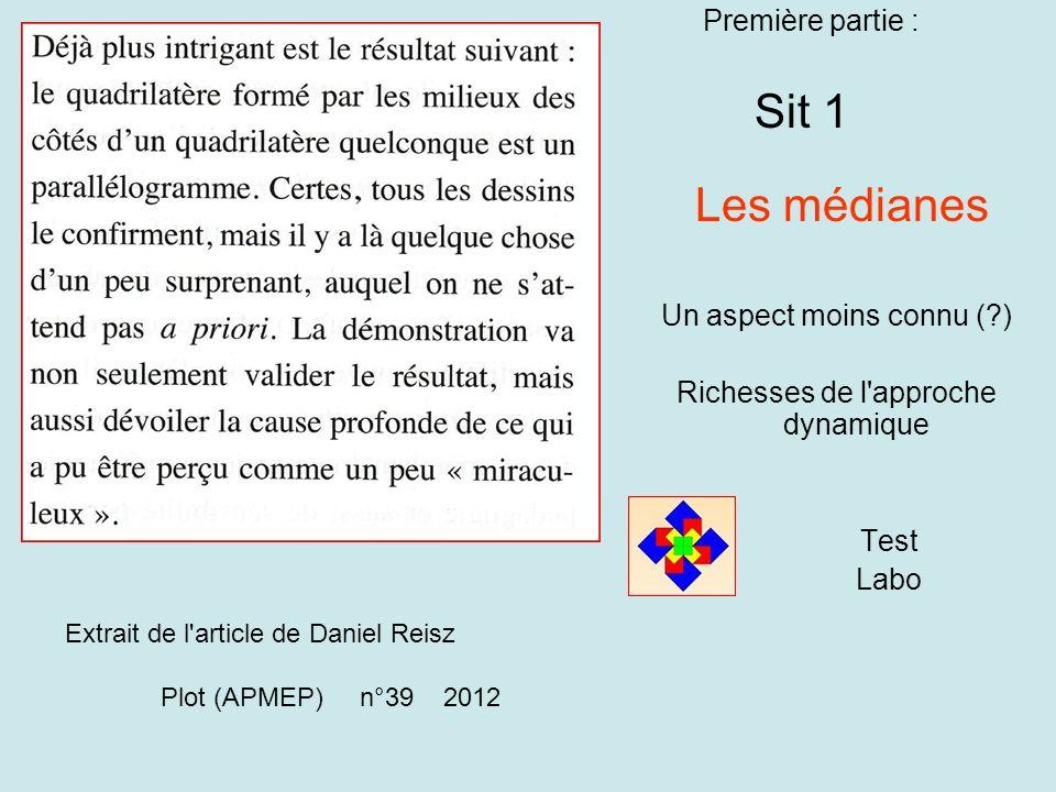 Première partie : Sit 1 Les médianes Un aspect moins connu (?) Richesses de l approche dynamique Test Labo Extrait de l article de Daniel Reisz Plot (APMEP) n°39 2012