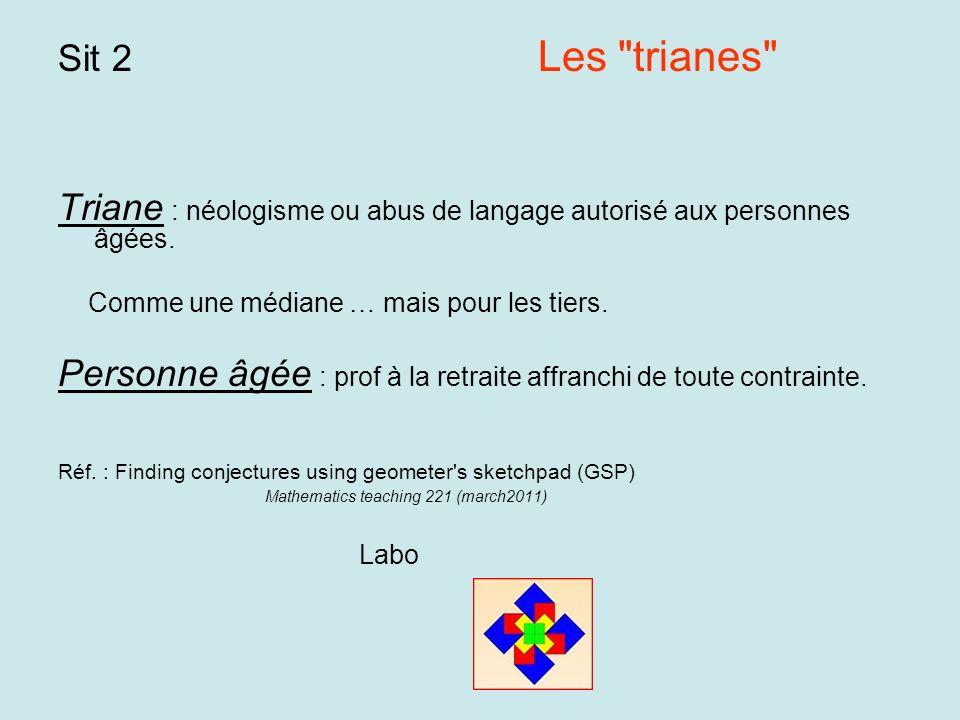 Sit 2 Les trianes Triane : néologisme ou abus de langage autorisé aux personnes âgées.