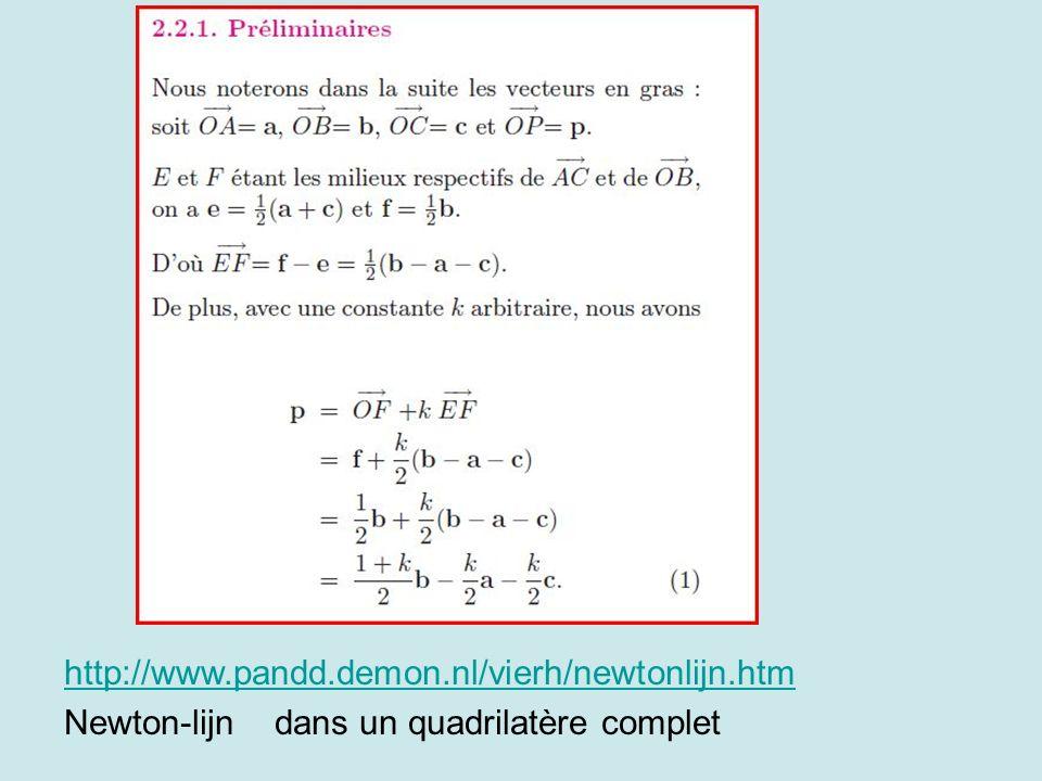 http://www.pandd.demon.nl/vierh/newtonlijn.htm Newton-lijn dans un quadrilatère complet