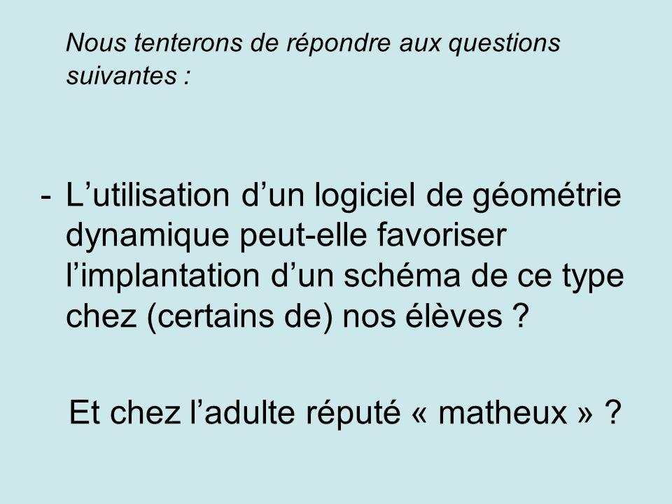 Nous tenterons de répondre aux questions suivantes : -Lutilisation dun logiciel de géométrie dynamique peut-elle favoriser limplantation dun schéma de ce type chez (certains de) nos élèves .