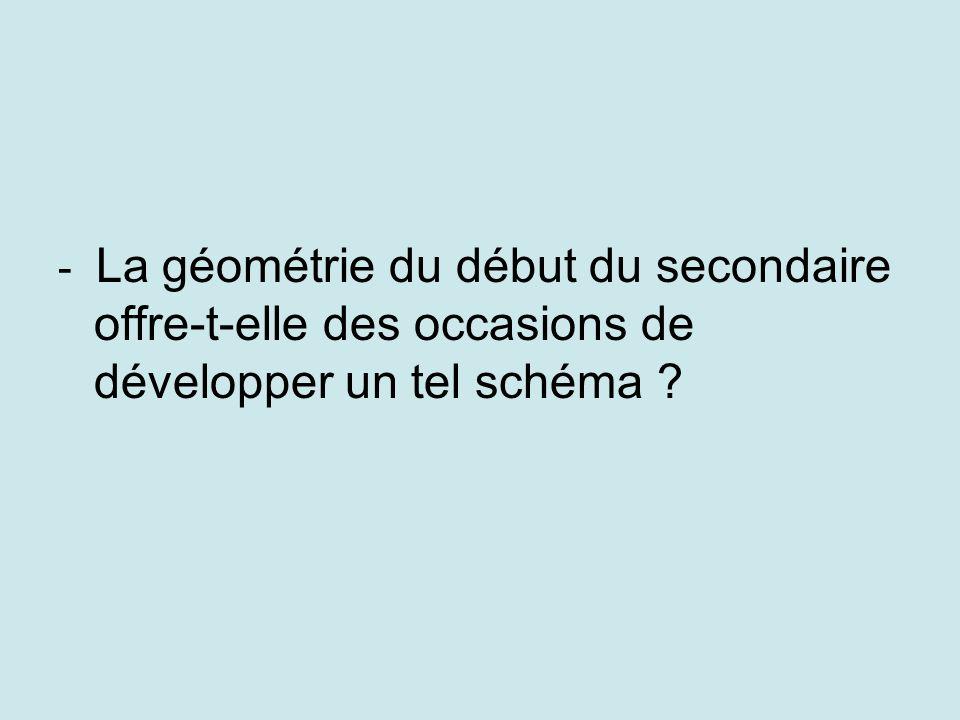 - La géométrie du début du secondaire offre-t-elle des occasions de développer un tel schéma ?