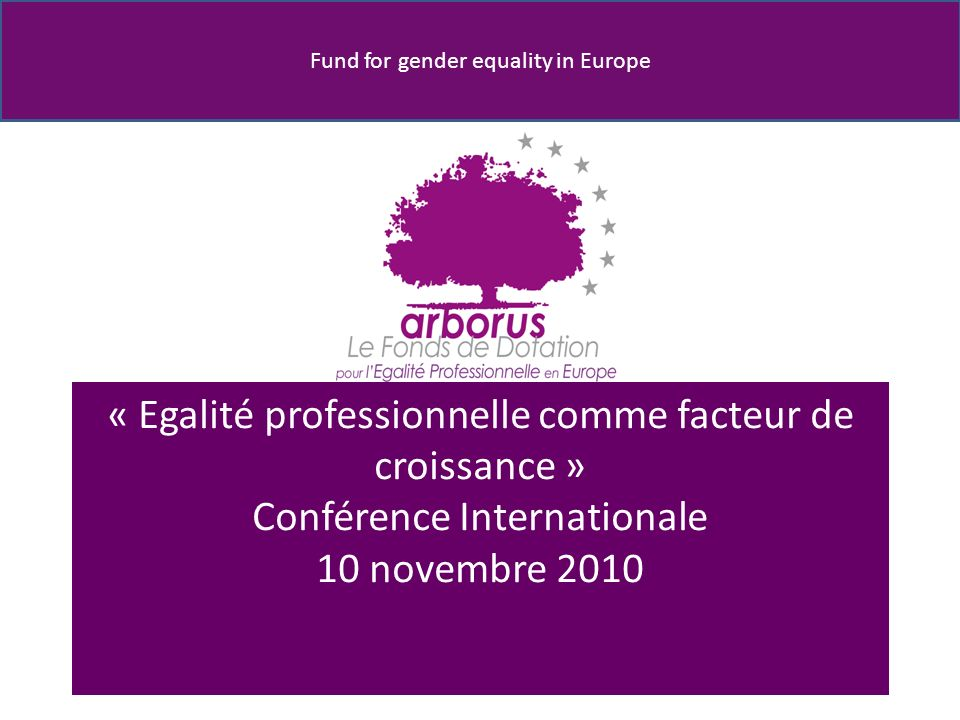 Fund for gender equality in Europe « Egalité professionnelle comme facteur de croissance » Conférence Internationale 10 novembre 2010
