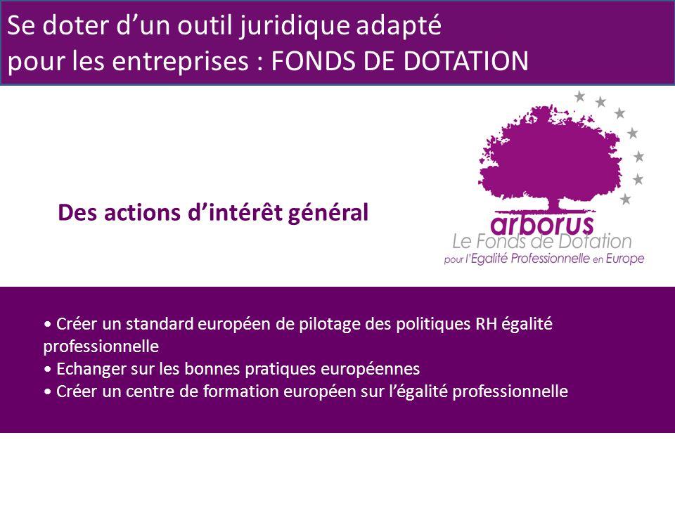 Des actions dintérêt général Se doter dun outil juridique adapté pour les entreprises : FONDS DE DOTATION Créer un standard européen de pilotage des politiques RH égalité professionnelle Echanger sur les bonnes pratiques européennes Créer un centre de formation européen sur légalité professionnelle