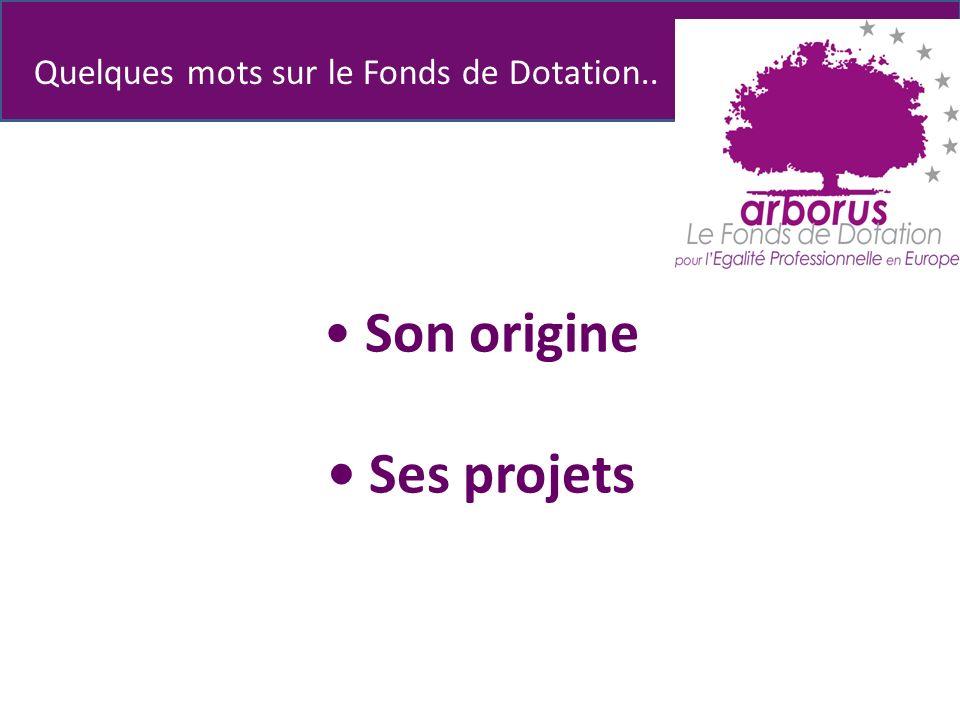 Son origine Ses projets Quelques mots sur le Fonds de Dotation..