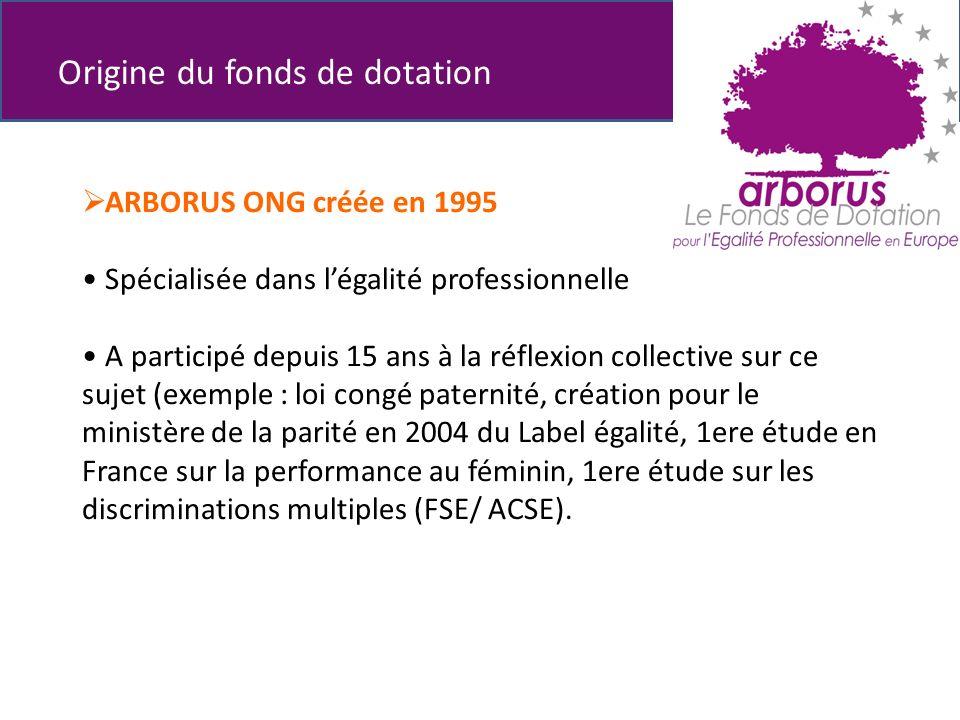 ARBORUS ONG créée en 1995 Spécialisée dans légalité professionnelle A participé depuis 15 ans à la réflexion collective sur ce sujet (exemple : loi congé paternité, création pour le ministère de la parité en 2004 du Label égalité, 1ere étude en France sur la performance au féminin, 1ere étude sur les discriminations multiples (FSE/ ACSE).
