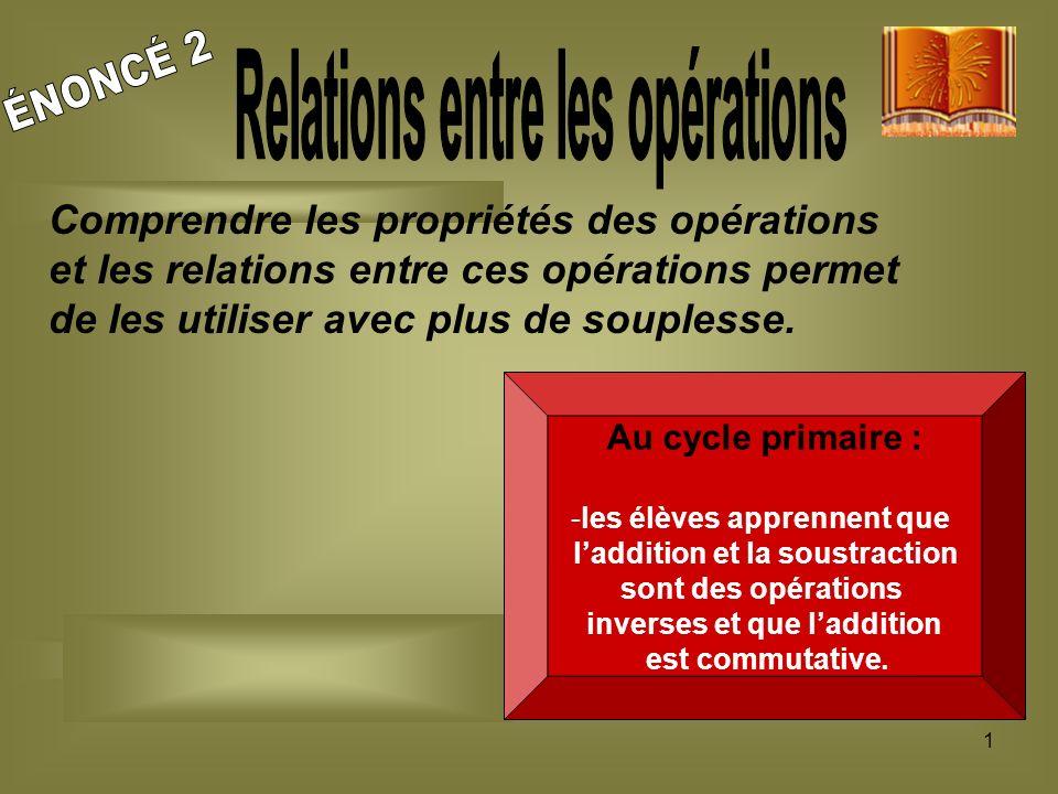 1 Comprendre les propriétés des opérations et les relations entre ces opérations permet de les utiliser avec plus de souplesse. Au cycle primaire : -l