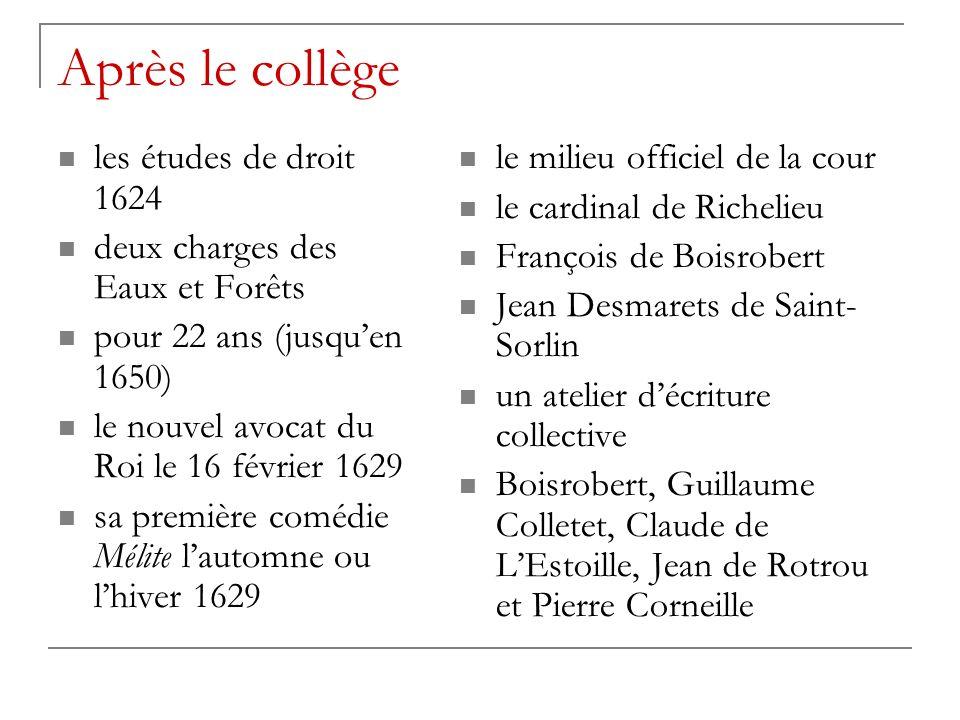 Après le collège les études de droit 1624 deux charges des Eaux et Forêts pour 22 ans (jusquen 1650) le nouvel avocat du Roi le 16 février 1629 sa pre