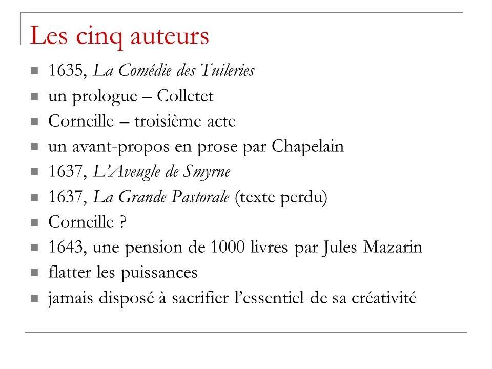 Les cinq auteurs 1635, La Comédie des Tuileries un prologue – Colletet Corneille – troisième acte un avant-propos en prose par Chapelain 1637, LAveugle de Smyrne 1637, La Grande Pastorale (texte perdu) Corneille .