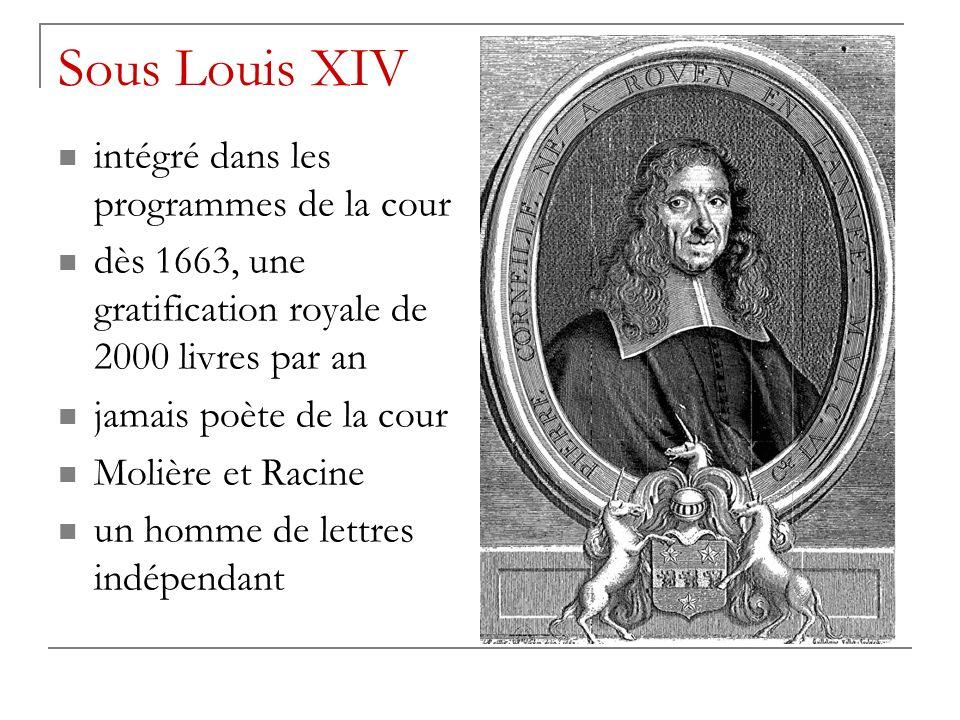 Sous Louis XIV intégré dans les programmes de la cour dès 1663, une gratification royale de 2000 livres par an jamais poète de la cour Molière et Racine un homme de lettres indépendant