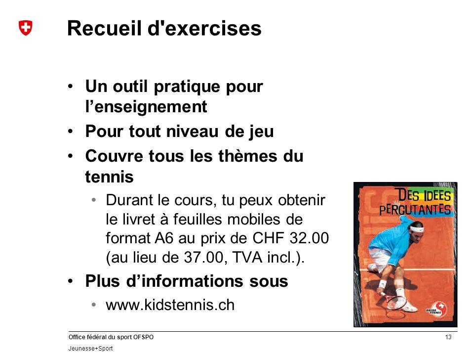 13 Office fédéral du sport OFSPO Jeunesse+Sport Recueil d'exercises Un outil pratique pour lenseignement Pour tout niveau de jeu Couvre tous les thème