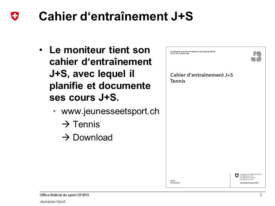 2 Office fédéral du sport OFSPO Jeunesse+Sport Cahier dentraînement J+S Le moniteur tient son cahier dentraînement J+S, avec lequel il planifie et documente ses cours J+S.