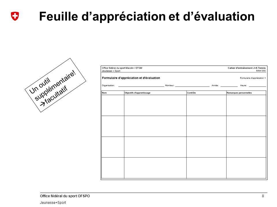 8 Office fédéral du sport OFSPO Jeunesse+Sport Feuille dappréciation et dévaluation Un outil supplémentaire! facultatif