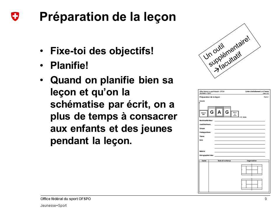 9 Office fédéral du sport OFSPO Jeunesse+Sport Préparation de la leçon Fixe-toi des objectifs! Planifie! Quand on planifie bien sa leçon et quon la sc