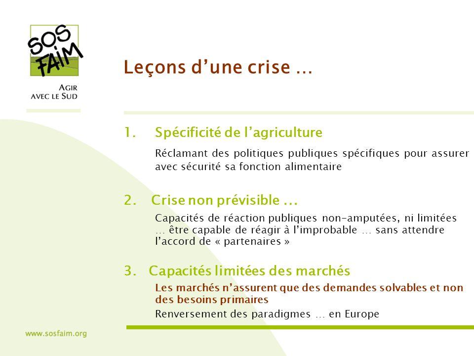 Leçons dune crise … 1.Spécificité de lagriculture Réclamant des politiques publiques spécifiques pour assurer avec sécurité sa fonction alimentaire 2.