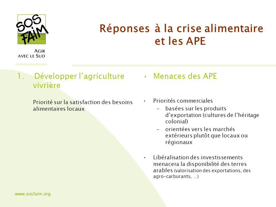 Réponses à la crise alimentaire et les APE 1.