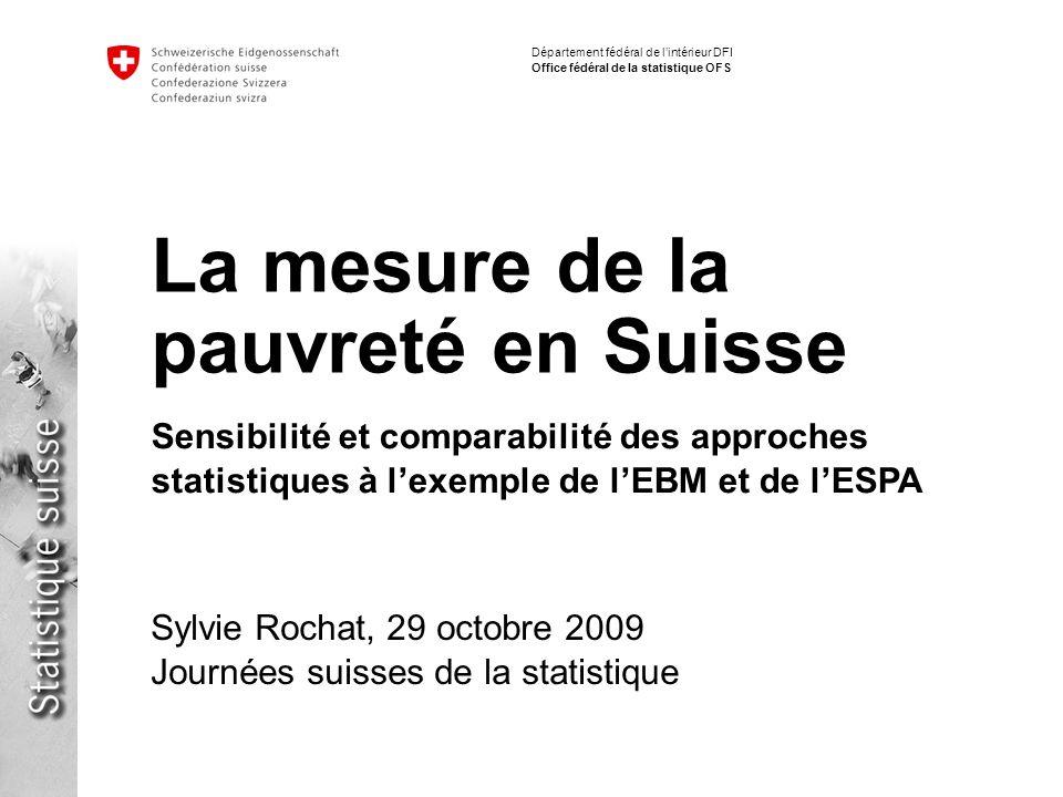 12 La mesure de la pauvreté en Suisse | Journées suisses de la statistique 2009 Sylvie Rochat Département fédéral de lintérieur DFI Office fédéral de la statistique OFS Comparaison internationale