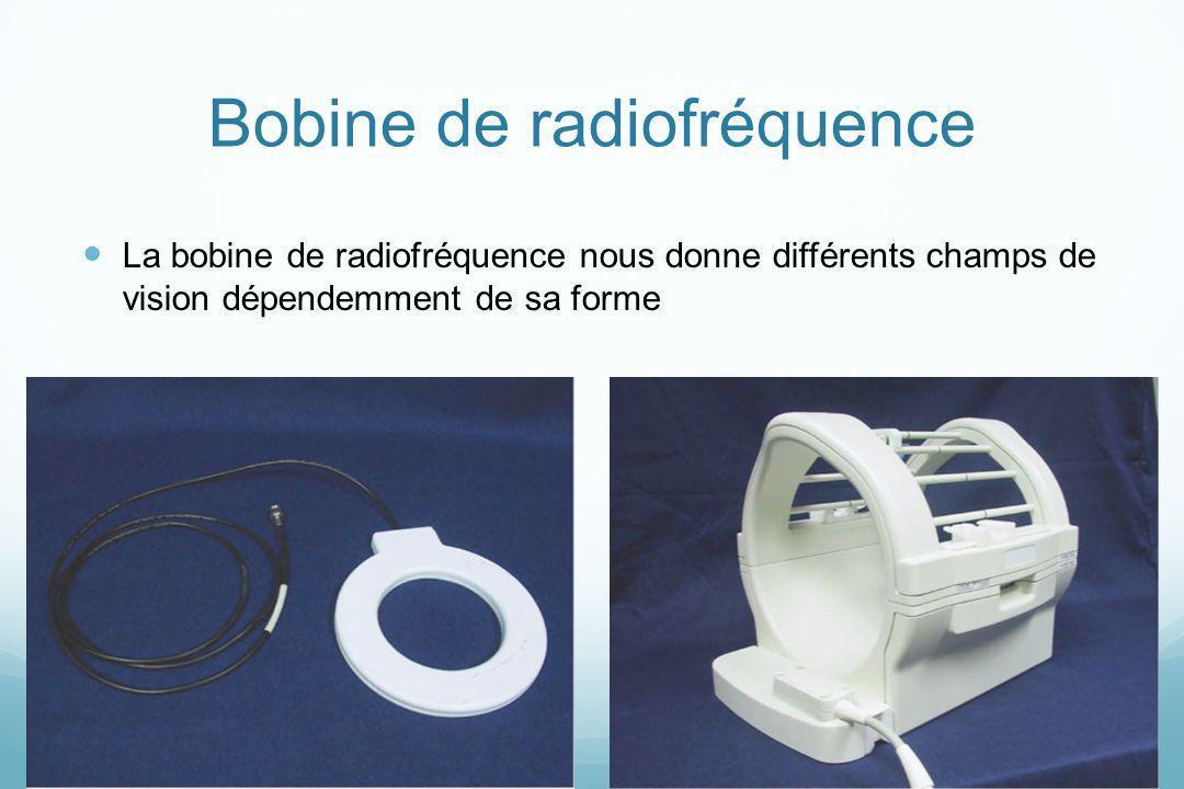 Bobine de radiofréquence La bobine de radiofréquence nous donne différents champs de vision dépendemment de sa forme
