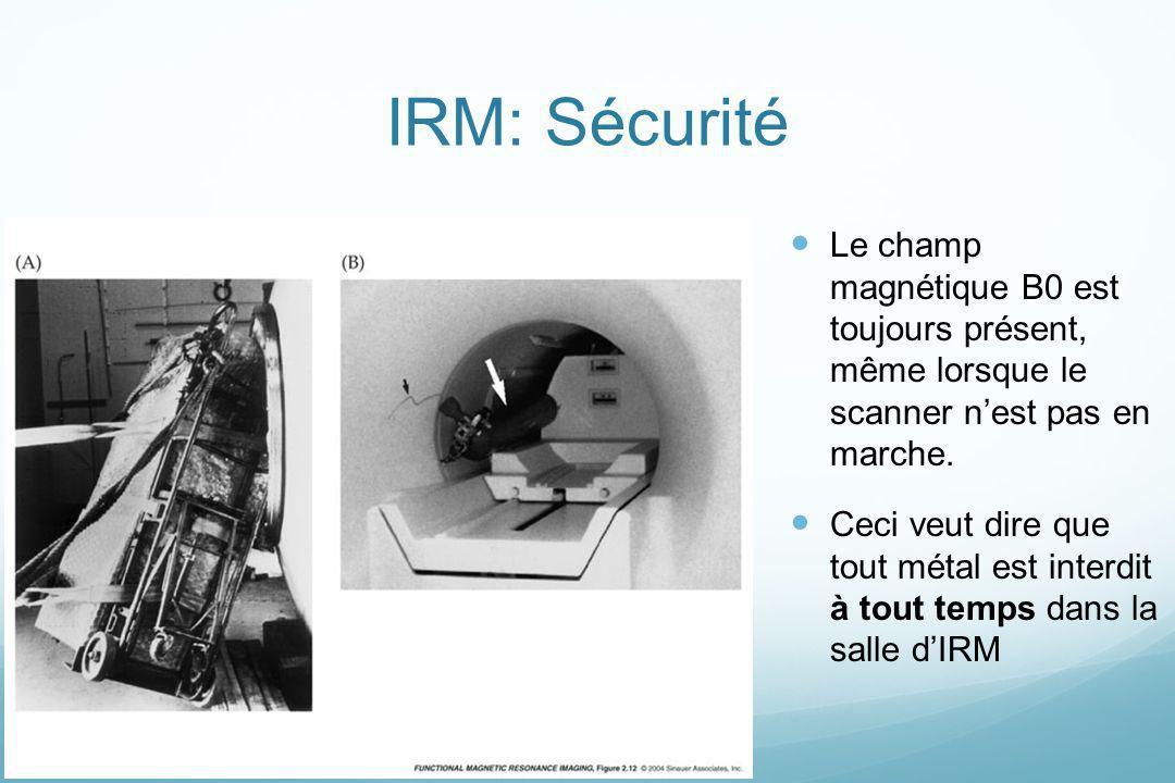 IRM: Sécurité Le champ magnétique B0 est toujours présent, même lorsque le scanner nest pas en marche. Ceci veut dire que tout métal est interdit à to