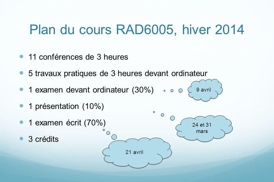 Plan du cours RAD6005, hiver 2014 11 conférences de 3 heures 5 travaux pratiques de 3 heures devant ordinateur 1 examen devant ordinateur (30%) 1 prés