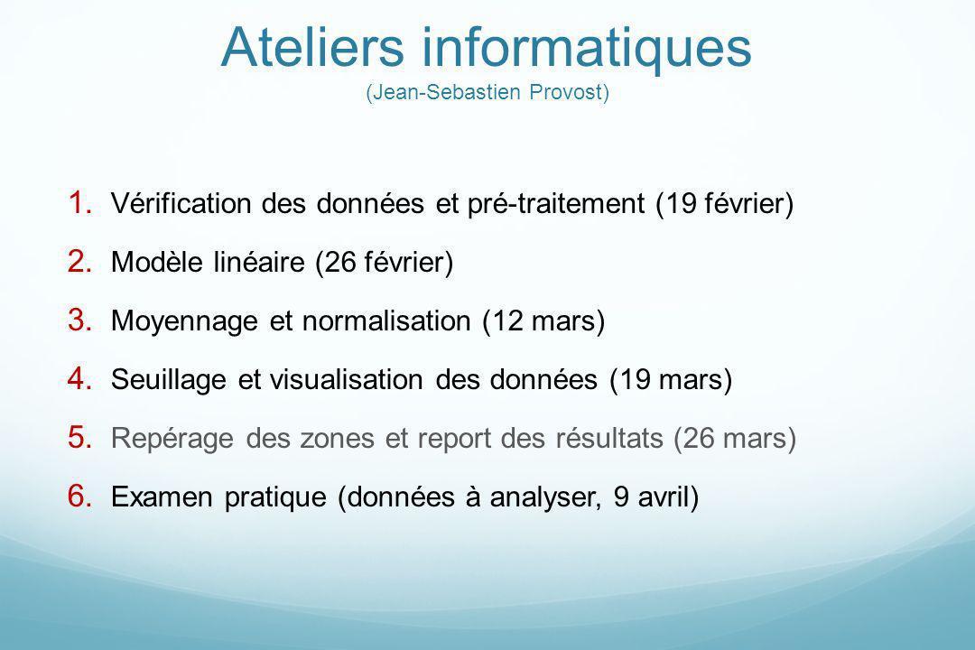 Ateliers informatiques (Jean-Sebastien Provost) 1. Vérification des données et pré-traitement (19 février) 2. Modèle linéaire (26 février) 3. Moyennag