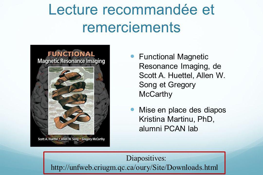 Lecture recommandée et remerciements Functional Magnetic Resonance Imaging, de Scott A. Huettel, Allen W. Song et Gregory McCarthy Mise en place des d
