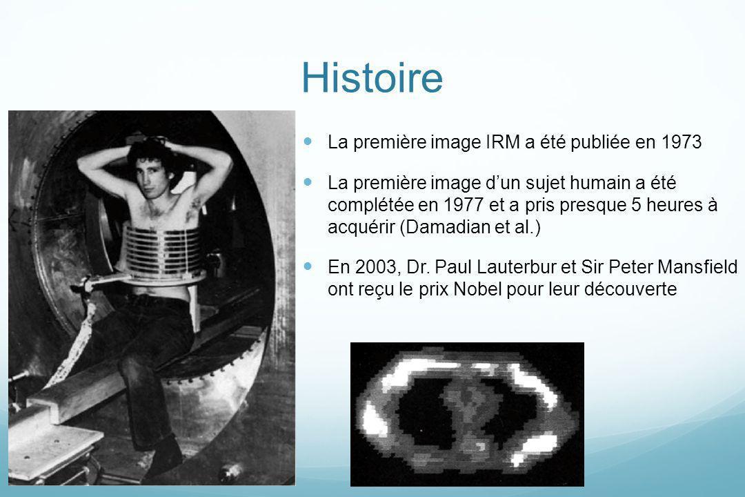 Histoire La première image IRM a été publiée en 1973 La première image dun sujet humain a été complétée en 1977 et a pris presque 5 heures à acquérir