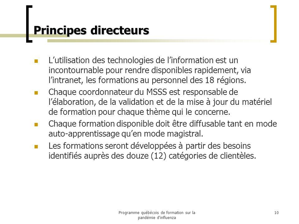 Principes directeurs Lutilisation des technologies de linformation est un incontournable pour rendre disponibles rapidement, via lintranet, les formations au personnel des 18 régions.
