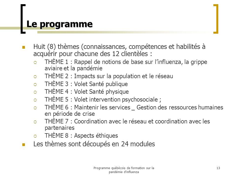 Le programme Huit (8) thèmes (connaissances, compétences et habilités à acquérir pour chacune des 12 clientèles : THÈME 1 : Rappel de notions de base sur linfluenza, la grippe aviaire et la pandémie THÈME 2 : Impacts sur la population et le réseau THÈME 3 : Volet Santé publique THÈME 4 : Volet Santé physique THÈME 5 : Volet intervention psychosociale ; THÈME 6 : Maintenir les services _ Gestion des ressources humaines en période de crise THÈME 7 : Coordination avec le réseau et coordination avec les partenaires THÈME 8 : Aspects éthiques Les thèmes sont découpés en 24 modules 13Programme québécois de formation sur la pandémie d influenza