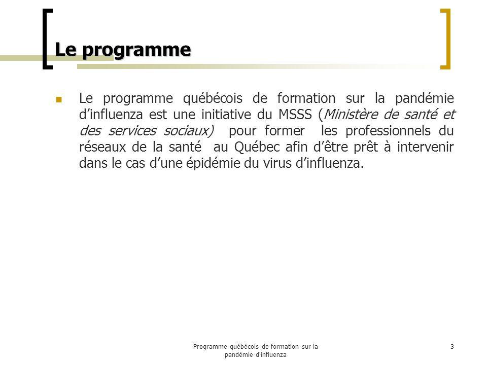 Le programme Le programme québécois de formation sur la pandémie dinfluenza est une initiative du MSSS (Ministère de santé et des services sociaux) pour former les professionnels du réseaux de la santé au Québec afin dêtre prêt à intervenir dans le cas dune épidémie du virus dinfluenza.
