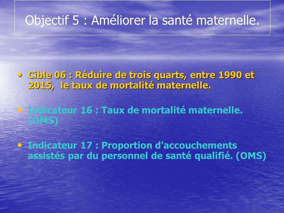 Objectif 5 : Améliorer la santé maternelle. Cible 06 : Réduire de trois quarts, entre 1990 et 2015, le taux de mortalité maternelle. Cible 06 : Réduir