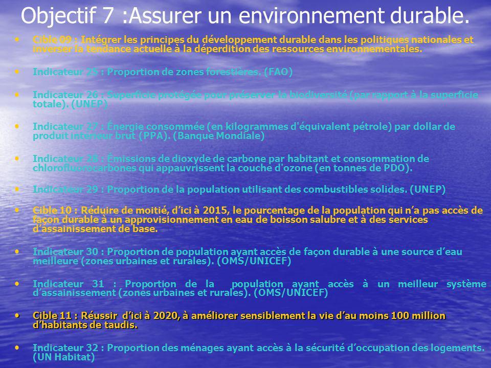 Objectif 7 :Assurer un environnement durable. Cible 09 : Intégrer les principes du développement durable dans les politiques nationales et inverser la