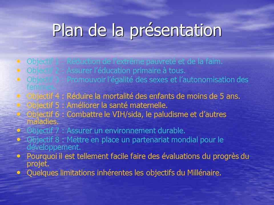 Plan de la présentation Objectif 1 : Réduction de lextrême pauvreté et de la faim. Objectif 2 : Assurer léducation primaire à tous. Objectif 3 : Promo