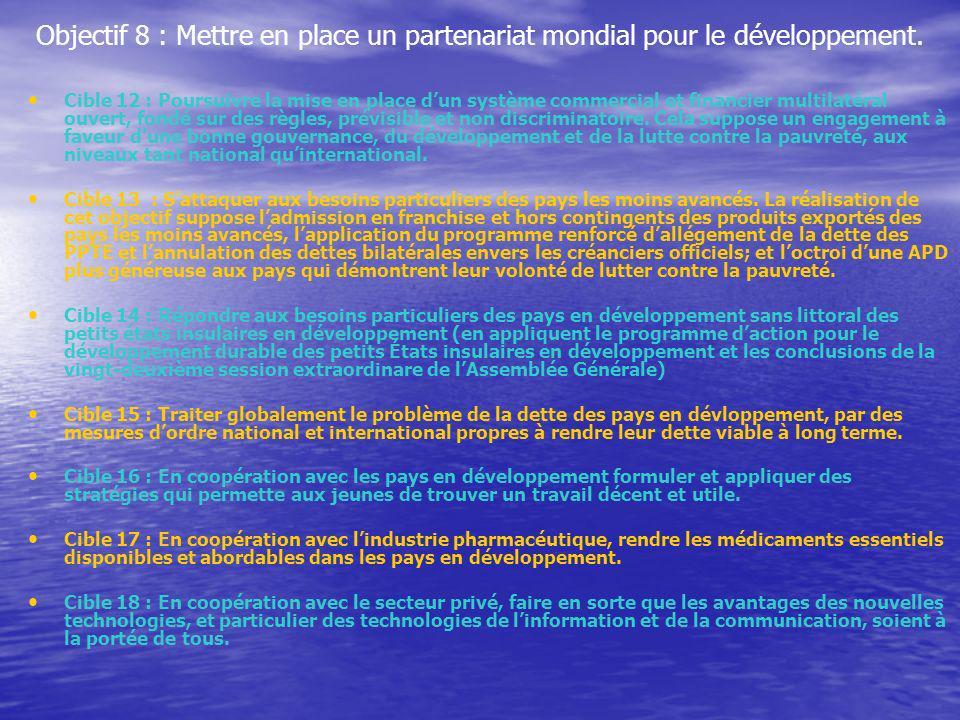 Objectif 8 : Mettre en place un partenariat mondial pour le développement. Cible 12 : Poursuivre la mise en place dun système commercial et financier