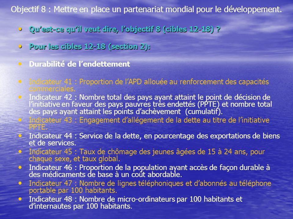 Objectif 8 : Mettre en place un partenariat mondial pour le développement. Quest-ce quil veut dire, lobjectif 8 (cibles 12-18) ? Quest-ce quil veut di
