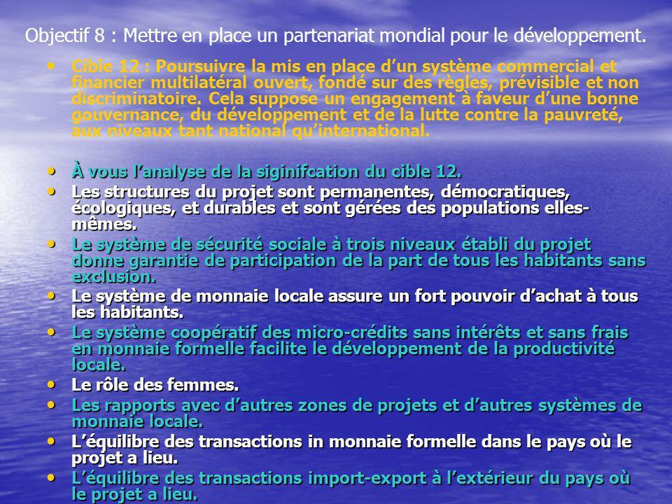 Objectif 8 : Mettre en place un partenariat mondial pour le développement. Cible 12 : Poursuivre la mis en place dun système commercial et financier m