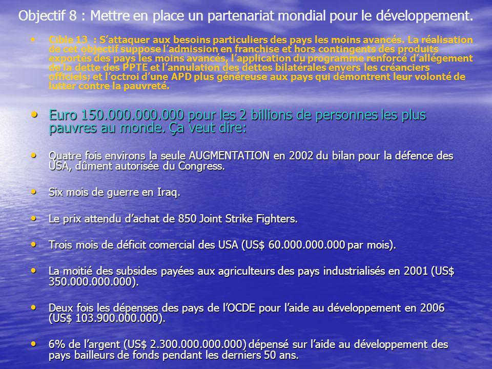 Objectif 8 : Mettre en place un partenariat mondial pour le développement. Cible 13 : Sattaquer aux besoins particuliers des pays les moins avancés. L