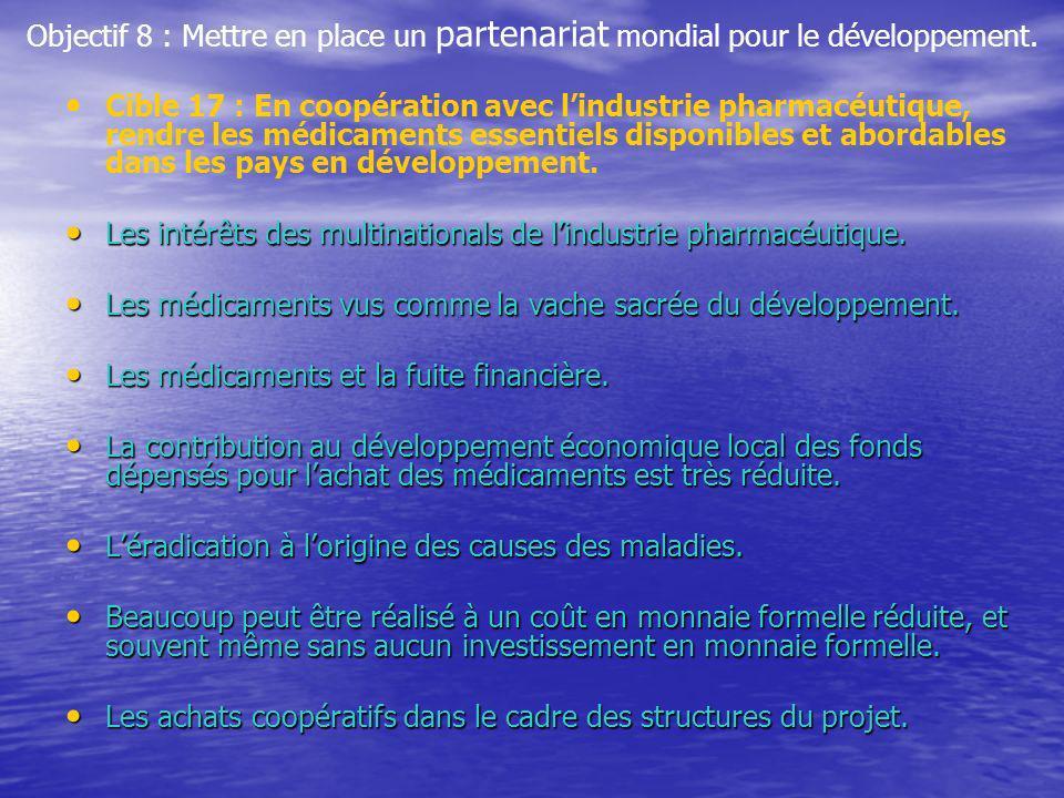Objectif 8 : Mettre en place un partenariat mondial pour le développement. Cible 17 : En coopération avec lindustrie pharmacéutique, rendre les médica
