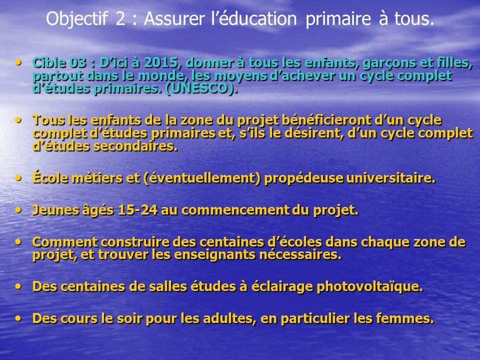 Objectif 2 : Assurer léducation primaire à tous. Cible 03 : Dici à 2015, donner à tous les enfants, garçons et filles, partout dans le monde, les moye