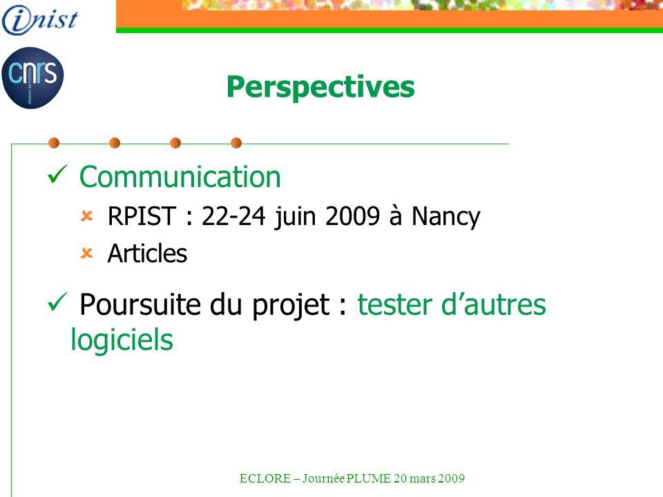Perspectives Communication RPIST : 22-24 juin 2009 à Nancy Articles Poursuite du projet : tester dautres logiciels ECLORE – Journée PLUME 20 mars 2009