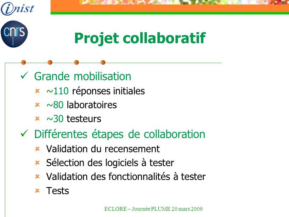 Projet collaboratif Grande mobilisation ~110 réponses initiales ~80 laboratoires ~30 testeurs Différentes étapes de collaboration Validation du recensement Sélection des logiciels à tester Validation des fonctionnalités à tester Tests ECLORE – Journée PLUME 20 mars 2009