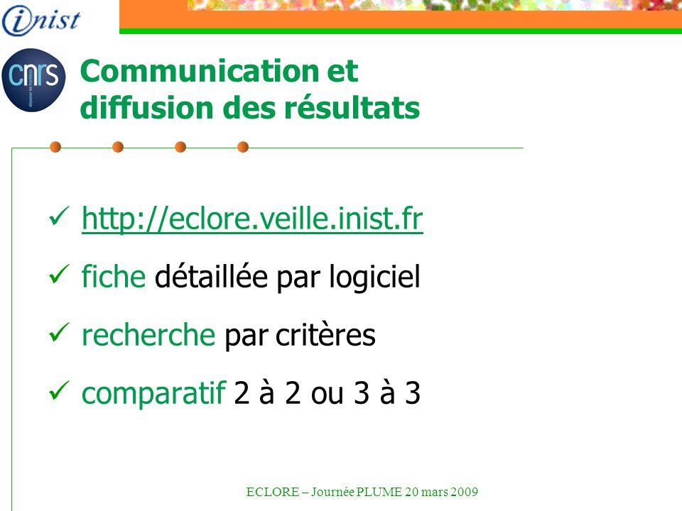 Communication et diffusion des résultats http://eclore.veille.inist.fr fiche détaillée par logiciel recherche par critères comparatif 2 à 2 ou 3 à 3 ECLORE – Journée PLUME 20 mars 2009