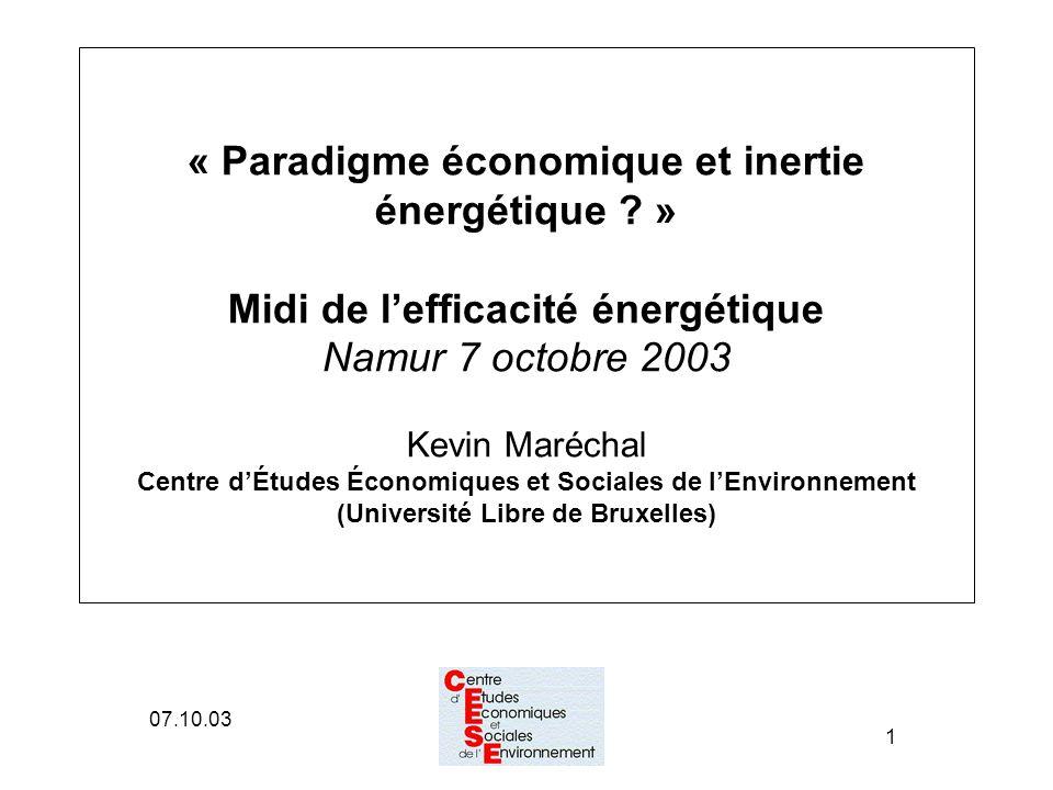 07.10.03 1 « Paradigme économique et inertie énergétique .