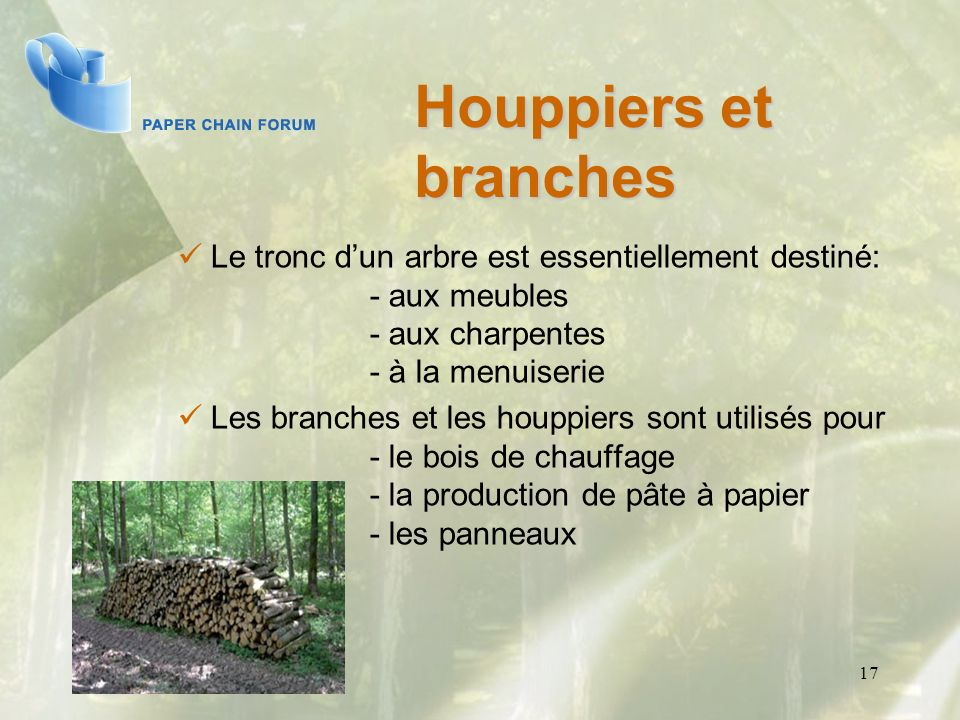 17 Le tronc dun arbre est essentiellement destiné: - aux meubles - aux charpentes - à la menuiserie Les branches et les houppiers sont utilisés pour -