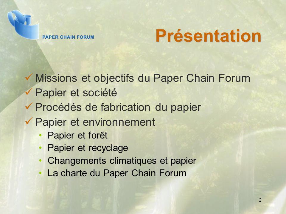 2 Présentation Missions et objectifs du Paper Chain Forum Papier et société Procédés de fabrication du papier Papier et environnement Papier et forêt