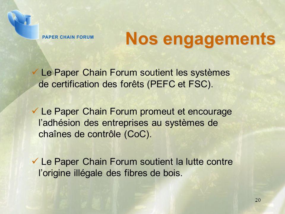 20 Le Paper Chain Forum soutient les systèmes de certification des forêts (PEFC et FSC). Le Paper Chain Forum promeut et encourage ladhésion des entre